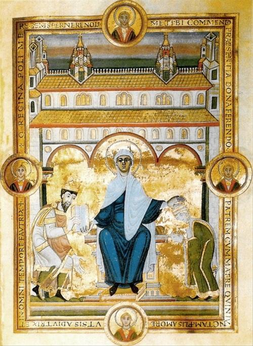 copie-de-miniature-de-dedicace-montrant-lempereur-henri-iii-et-limperatrice-agnes-devant-la-vierge-tronant